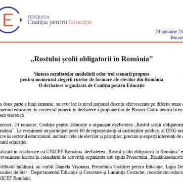 """Raport final – """"Rostului școlii obligatorii în România"""""""
