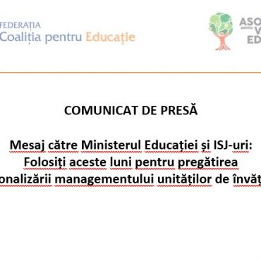 Mesaj către Ministerul Educației și ISJ-uri